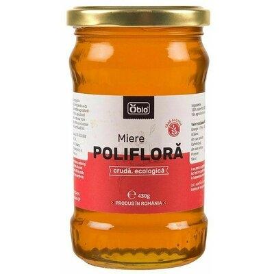 Miere poliflora cruda eco 430g Obio