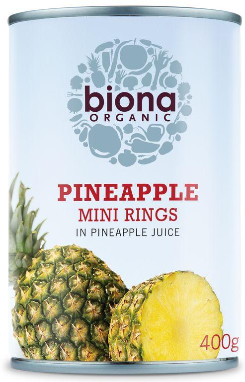 Rondele mini de ananas in suc de ananas eco 400g Biona