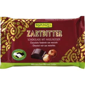 Ciocolata bio amaruie Cristalino 60% cacao si alune intregi HIH 100g - Rapunzel