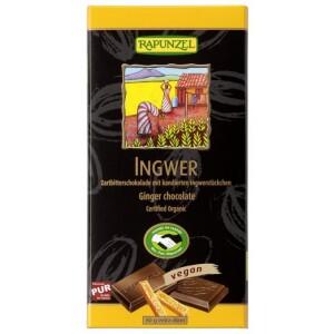 Ciocolata bio amaruie cu ghimbir 55% cacao HIH 80g - Rapunzel