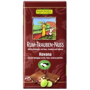 Ciocolata bio cu stafide alune si rom 100g - Rapunzel