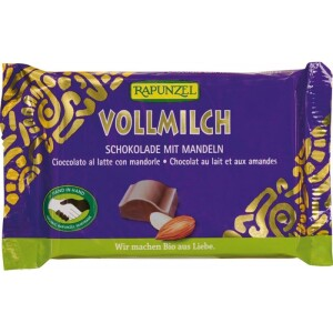 Ciocolata bio lapte integral Cristallino cu migdale intregi HIH 100g - Rapunzel
