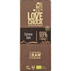 Ciocolata RAW VEGANA extreme dark 99% cacao 70g - Lovechock