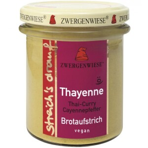 Crema tartinabila bio vegetala Thayenne cu Thai curry si piper de cayenne 160g - Zwergenwiese