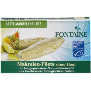 File de macrou fara piele in ulei bio de floarea soarelui 120g - Fontaine