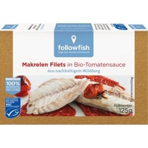 File de macrou in sos de tomate bio 125g - Followfish