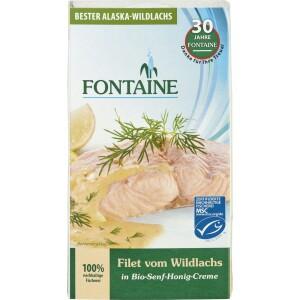 File de somon salbatic in sos bio de mustar si miere 200g - Fontaine