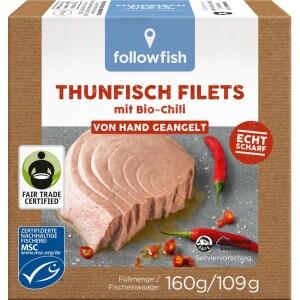 File de ton cu chilli in ulei de floarea soarelui bio 160g - Followfish