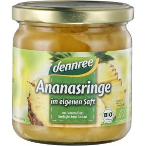 Inele de ananas in suc propriu 350g - Dennree