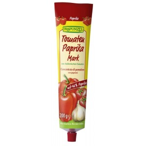 Pasta de tomate bio cu ardei in tub 200g - Rapunzel