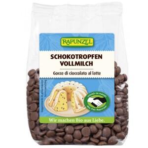 Picaturi de ciocolata bio din lapte integral 100g - Rapunzel
