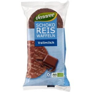 Vafe din orez expandat cu ciocolata 100g - Dennree